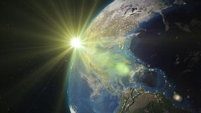 3D rendering planet Earth from space against the background. 3D rendering Earth from space against the background of the starry sky and the Sun. Shadow and Royalty Free Stock Image