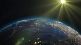 3D rendering planet Earth from space against the background. 3D rendering Earth from space against the background of the starry sky and the Sun. Shadow and Royalty Free Stock Photography