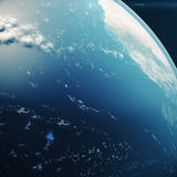 3D Rendering Planet earth from the space at night. The World Globe from Space in a star field showing the terrain and. Clouds Elements of this image furnished Royalty Free Stock Photos