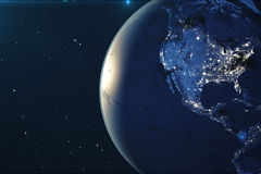 3D Rendering Planet earth from the space at night. The World Globe from Space in a star field showing the terrain and. Clouds Elements of this image furnished Stock Images