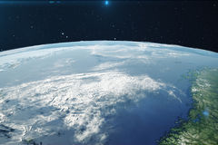 3D Rendering Planet earth from the space at night. The World Globe from Space in a star field showing the terrain and. Clouds Elements of this image furnished Stock Photography