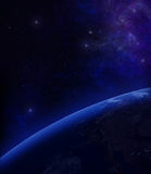 3D rendering: Planet earth from space with stars. In the background Stock Photography