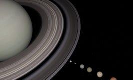 3d rendering planeta Saturn i księżyc zbliżenie z gwiazdami na tle royalty ilustracja