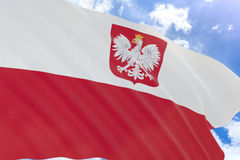 3D rendering of Poland flag waving on blue sky background. 3D rendering of Poland with coat of arms flag waving on blue sky background, Poland is Country in Stock Photo