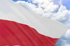 3D rendering of Poland flag waving on blue sky background. Poland is Country in Europe, National Independence Day is a national day in Poland celebrated on 11 Royalty Free Stock Photo