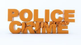 Police crime text and white background. 3d rendering. Police crime text and white background Royalty Free Stock Photo