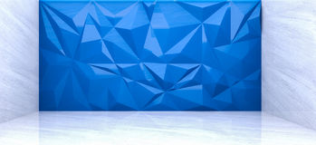 3D rendering of  polygon wall in marble room. 3D rendering of  blue polygon wall in marble room Stock Images