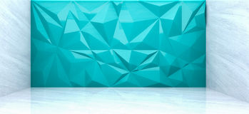 3D rendering of  polygon wall in marble room. 3D rendering of ิlight blue  polygon wall in marble room Royalty Free Stock Photos