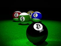 Pool balls with Bitcoin, American Dollar, Euro, Yen and British Pound symbols. 3D rendering of Pool balls with Bitcoin, American Dollar, Euro, Yen and British Stock Photo