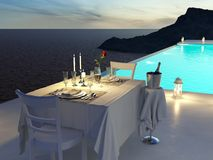 3D rendering of pool villa with champagne. valentines day royalty free stock photography