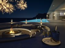 3d rendering of pool villa with fireworks and champagne. new years eve. Pool villa with fireworks and champagne. 3d rendering Stock Photography