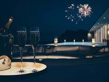 3d rendering of pool villa with fireworks and champagne. new years eve. Pool villa with fireworks and champagne. 3d rendering Royalty Free Stock Image