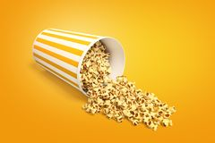 3d rendering of a popcorn bucket lying sidelong with some popcorn spilt out. Tasty treats and snacks. Watch movies. Have fun royalty free illustration