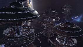 3d rendering. Powerful set of spacestations in futuristic scene. 3d rendering of a group of futuristic space stations. The set of sci-fi spacecrafts are stock illustration