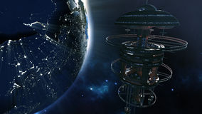 3d rendering. Powerful spacestation with city lighted earth globe Stock Photos