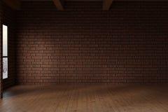 3d rendering pracowniany pokój z czerwonych cegieł ścianą Obrazy Royalty Free