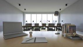 3d rendering pracujący stół z głębią pole fotografia Fotografia Royalty Free