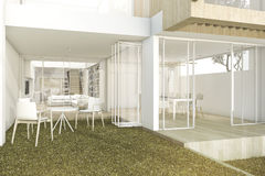 3d rendering private garden in modern minimal house. 3d rendering interior and exterior design Stock Photos