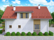 3d rendering of private suburban, two-story house  Royalty Free Stock Images