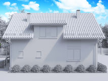 3d rendering of private suburban, two-story house in a modern st Stock Photo