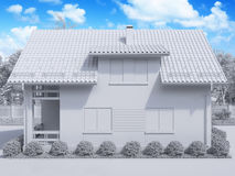 3d rendering of private suburban, two-story house in a modern st Royalty Free Stock Photography