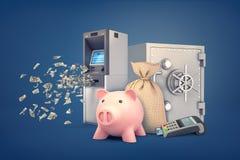 3d rendering prosiątko banka stojaki otaczający ATM maszyną, pieniądze torbą, skrytki pudełkiem i POS śmiertelnie, ilustracja wektor