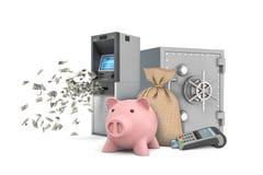 3d rendering prosiątko banka stojaki z skrytki pudełkiem, ATM maszyną, pieniądze torbą i pos śmiertelnie pobliskim, ja ilustracji
