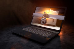3D rendering from a protected Laptop with an golden vault as computer screen Royalty Free Stock Photography