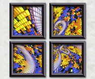 3D rendering puff pixels artwork gallery Royalty Free Stock Photography