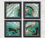 3D rendering puff pixels artwork gallery Royalty Free Stock Photo