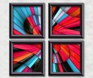3D rendering puff pixels artwork gallery. In elegant frames Royalty Free Stock Photo