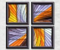 3D rendering puff pixels artwork gallery. In elegant frames Stock Photography