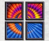 3D rendering puff pixels artwork gallery. In elegant frames Royalty Free Stock Photography