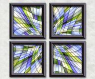 3D rendering puff pixels artwork gallery. In elegant frames Stock Photo