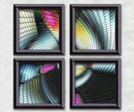 3D rendering puff pixels artwork gallery. In elegant frames Stock Image