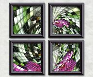3D rendering puff pixels artwork gallery Royalty Free Stock Images