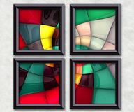 3D rendering puff pixels artwork gallery. In elegant frames Stock Photos