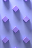 3d rendering of purple cubes on background. Several purple cubes on purple background.From above Royalty Free Stock Photo