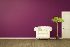 Purple room with a white armchair Stock Photography