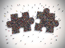 3D Rendering puzzle concept of unity and teamwork Stock Image