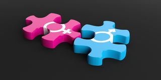 3d rendering puzzle man woman symbol Stock Photography