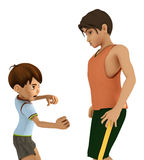 Dueling Brothers. 3d rendering of quarreling brothers in American toon style Royalty Free Stock Photos