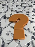 Question Mark sign on pile of gray metallic alphabet fonts. 3D rendering of Question Mark sign in metallic copper color on pile of gray metallic alphabet fonts Royalty Free Stock Photography