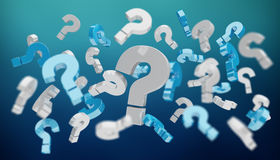 3D rendering question marks. On blue background Stock Images