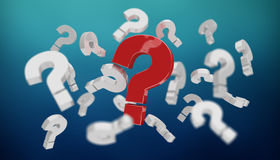3D rendering question marks. On blue background Royalty Free Stock Image