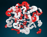 3D rendering question marks. On blue background Royalty Free Stock Images