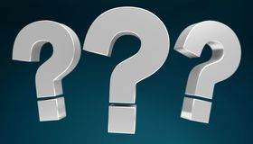 3D rendering question marks. On dark background Royalty Free Stock Images