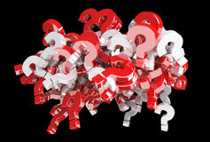 3D rendering question marks. On dark background Stock Photos