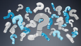 3D rendering question marks. On dark background Stock Photo