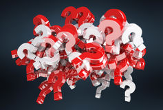 3D rendering question marks. On dark background Royalty Free Stock Photography